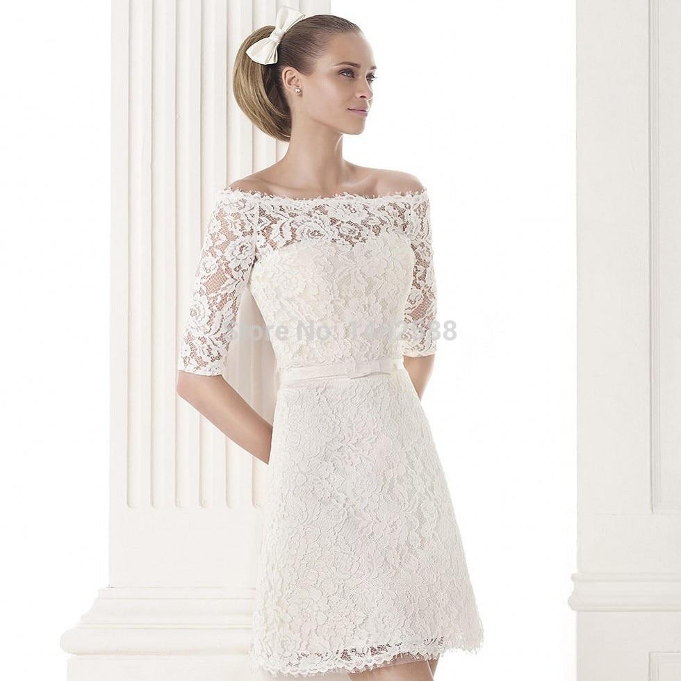 Off the Shoulder Lace Short Wedding Dress
