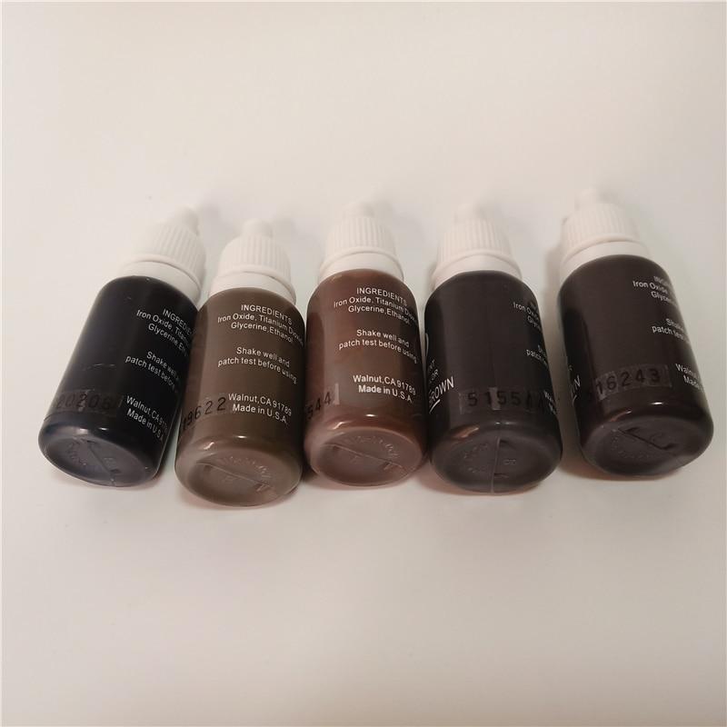 5pcs permanent makeup pigment micropigment tattoo ink 15ml bottle cosmetic manual 3d eyebrow black brown mix