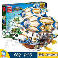669pcs The War Human VS Elves Goblin Zeppelin Flying Dragon Archer Figure Building Blocks Kit Game Toy Compatible with LegoING