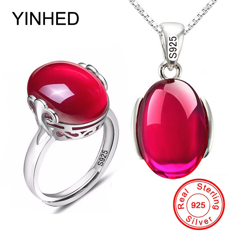 90% OFF! Luxury 5 Carat Created Rubis Ring Necklace Set Original 925 Solid Silver Crystal Bridal Jewelry Sets for Women ZS054