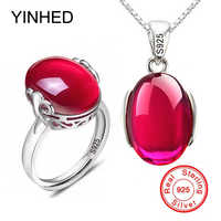 90% RABATT! luxus 5 Carat Erstellt Rubis Ring Halskette Set Original 925 Solide Silber Kristall Brautschmuck Sets für Frauen ZS054
