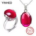 90% de descuento! Lujo 5 Carat creado rubis anillo collar conjunto original 925 Plata sólida cristal Juegos de joyería para novia para las mujeres zs054