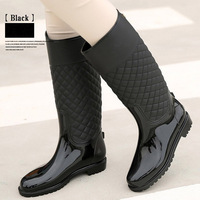 HEE GRAND Women Boots Rubber Water Shoes Med Heeled Ladies Rain Boots Slip on Fashion Female Rainy Shoes Mujer Booties XWD4579