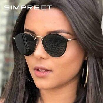 SIMPRECT Retro Round Sunglasses Women 2019 High Quality Metal Mirror Sun Glasses Vintage Brand Designer Lunette De Soleil Femme