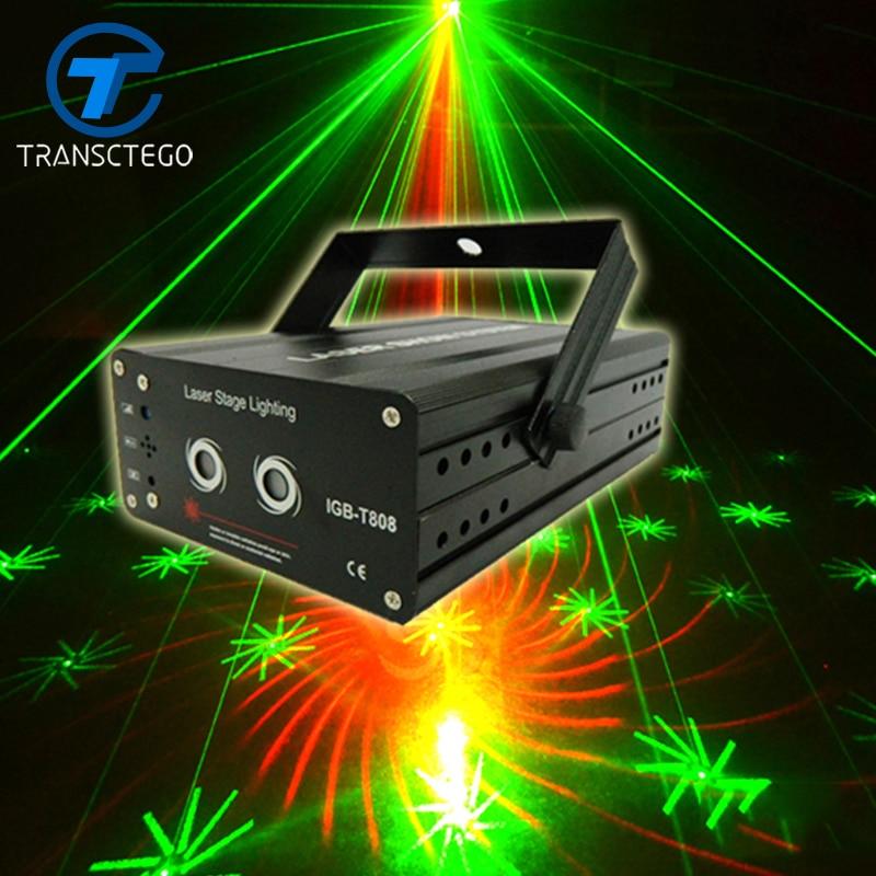 Luz de discoteca LED Lámpara de escenario Luz láser 40 patrones Rojo Verde Iluminación de color Proyector láser de Navidad Luces de fiesta