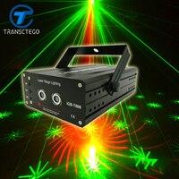 Oferta Luz de discoteca LED lámpara de escenario luz láser 40 patrones rojo verde Color iluminación Navidad Proyector láser fiesta luces