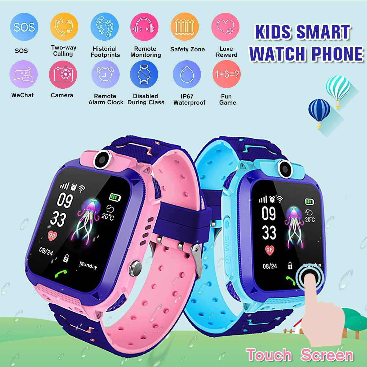 Children's Smart Phone Watch Smart Watch Anti-lost GPS Tracker Remote Photography Kids Smartwatch for Android IOS