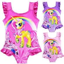 54e0efb25 My Little Poli Kids Swim wear For Girls 2018 Cute Pong Unicorno Swimsuit  1Pc Mermaid Swim