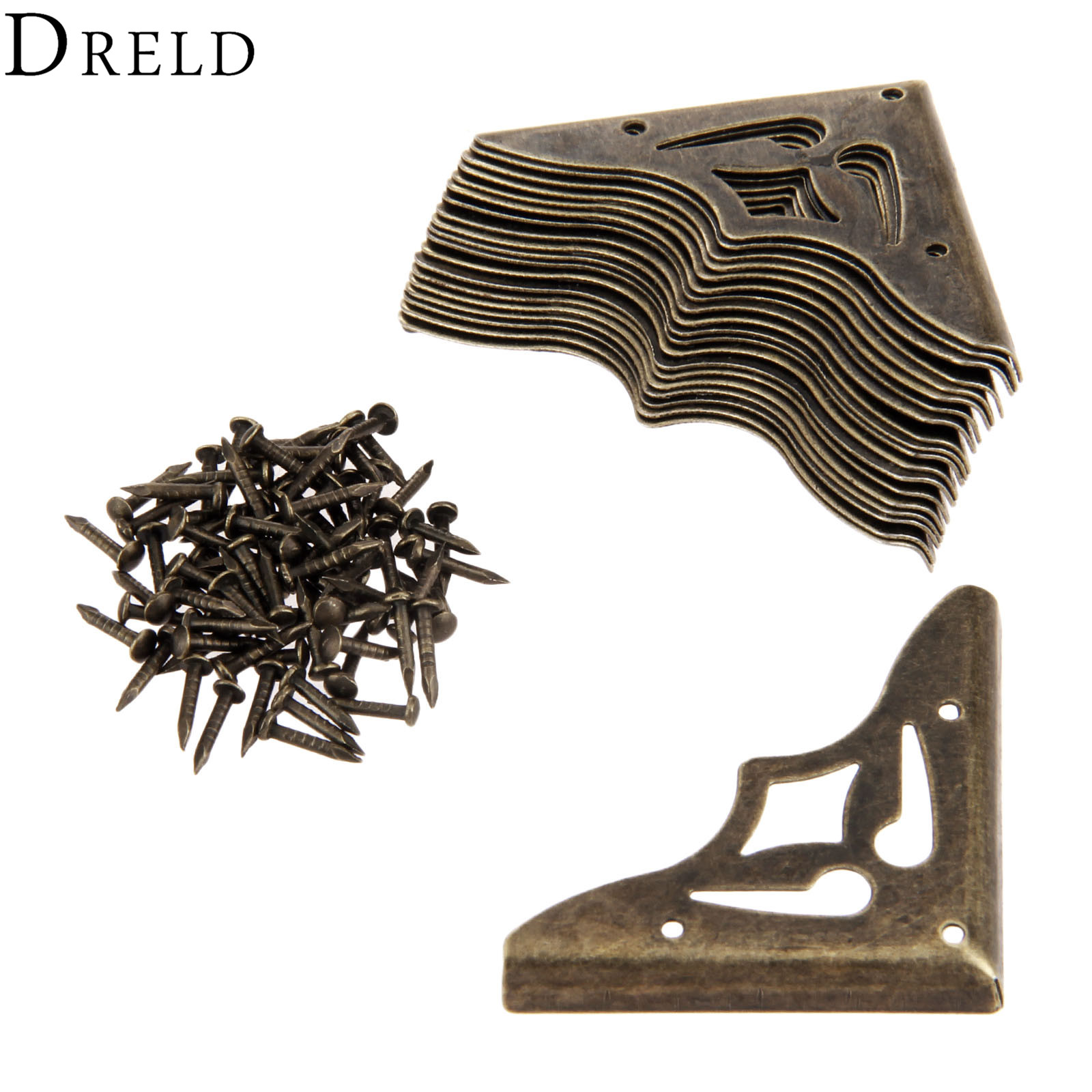 DRELD 20Pcs Furniture Metal Craft  Antique Bronze Jewelry Box Corner Foot Wooden Case Corner Protector Decorative Corner 35mm