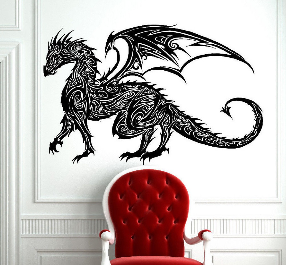 tribal tattoo classic chinese dragon wall decal sticker. Black Bedroom Furniture Sets. Home Design Ideas