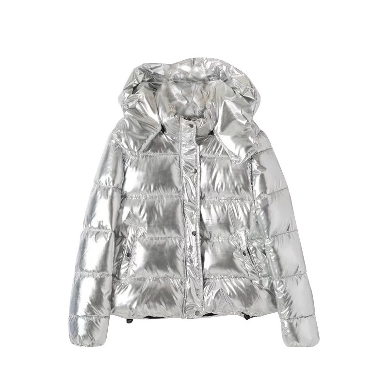2018 Manteau Femme Taille Argent Capuchon D'hiver vent Amovible Yaxez D'extérieur Nouvelle Grande Parka Coupe Chaud Longue Vêtement Mode Holographique Veste À 1JlTFKc