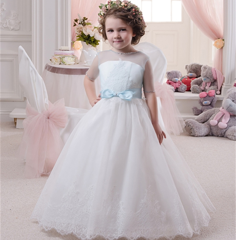 2016 Tulle Lace Beaded Flower Girls font b Dress b font With Bow First Communion font