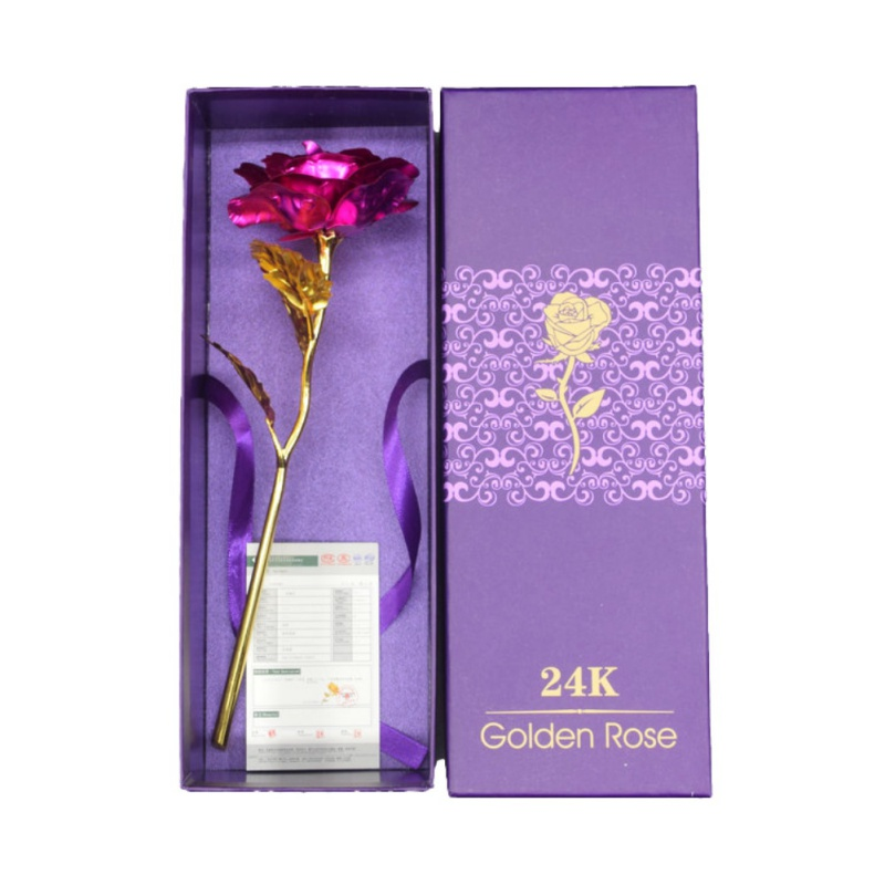 Mothers Day Valentines Day Present Gift 24K Gold Plated Golden Rose Flower Holiday Wedding Party Decoration With Retailed Box