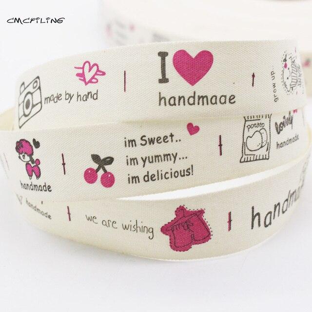 20mm cinta de algodón impresa hecha a mano cinta decorativa cinta ...
