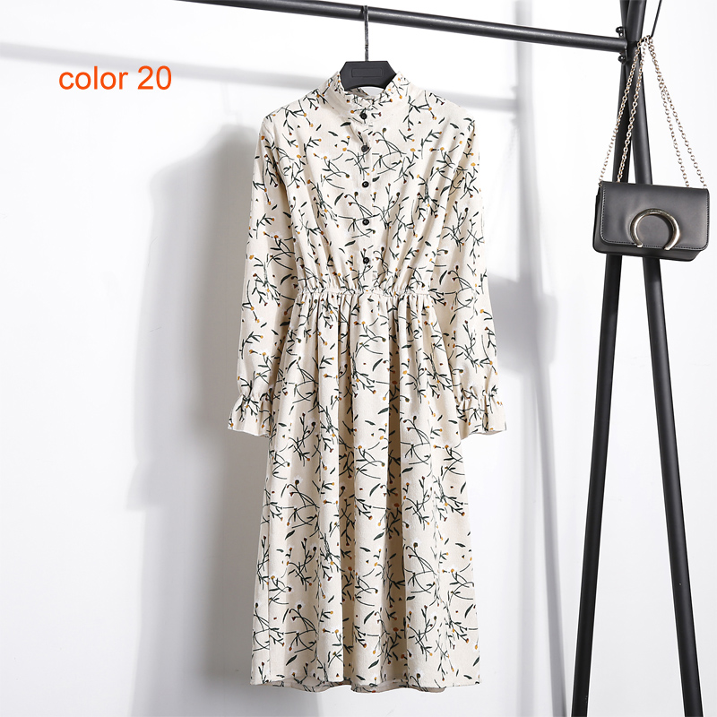 Image 3 - Corduroy Soft Floral Print Women Autumn Winter Dress Stand Collar Female Party Loose Dresses Elastic Waist Beach Vestidos-in Dresses from Women's Clothing