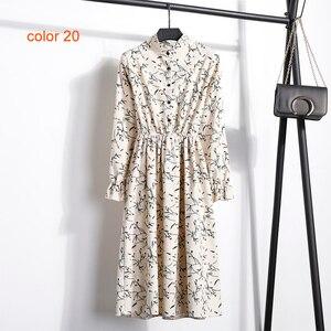 Image 3 - Corduroy Soft Floral Print Women Autumn Winter Dress Stand Collar Female Party Loose Dresses Elastic Waist Beach Vestidos