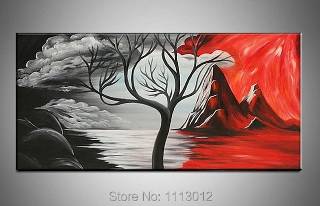 Hot Sale Abstract Hand Painted Red Sea Hill Tree Oil Painting On Canvas Home Decoration Modern Wall Picture For Living Room Sale