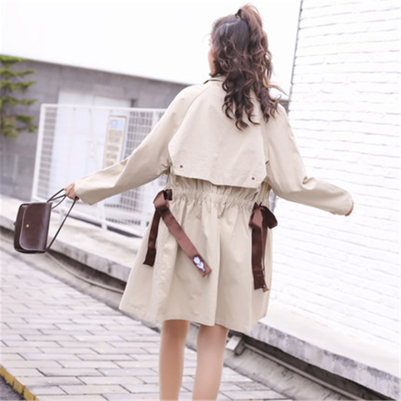 Casual Windbreaker Female Long Section Korean Spring Autumn 2019 New Chic Loose Waist tie Thin   Trench   Coat For Women x835