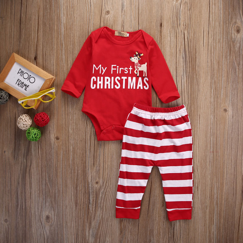 Newborn Baby Girls MY First Christmas Fashion Long Sleeve Bodysuit Stripe Pants 2Pcs Outfits