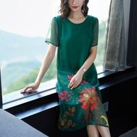 Green silk dresses woman party night 2019 plus size xxl for big women elegant retro robe dress summer a line floral clothing