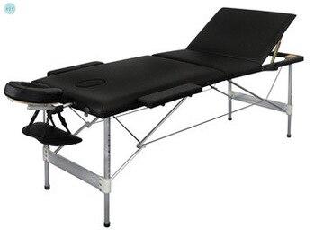 Massaggio Letto Portatile Pieghevole A tre volte In Lega di Alluminio di Bellezza Del Tatuaggio Del Corpo di Terapia di Massaggio Letto