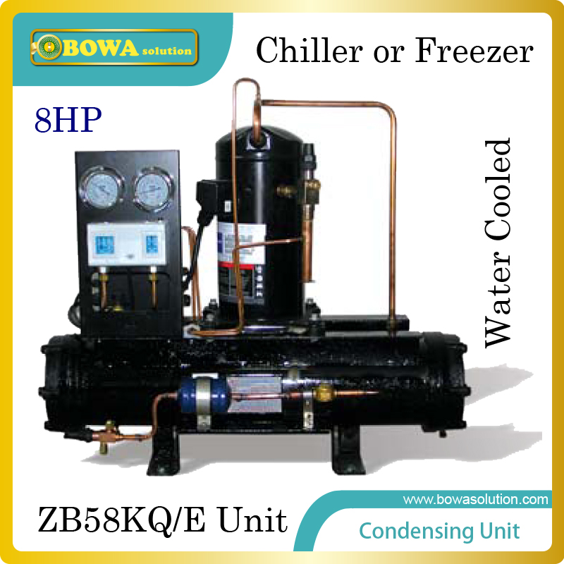 8HP water cooled condensing unit with emerson scroll compressor suitable for kinds of refrigeration equipment or cold room large cooling capacity indepedent electronic expansion valves eev unit suitable for tandem compressor unit or compressor rack