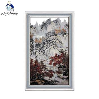 Joy Sunday Needlework DIY Landscape Cross Stitch Sets for Embroidery Kit Autumn Mountains and Red Trees Cross-Stitching Decor