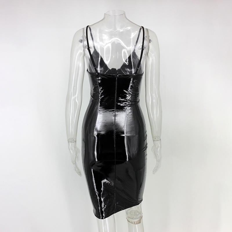 NATTEMAID Women Black Sexy Bodycon Leather Dress Sexy Zipper Latex Club Wear Clothing Mini Dress Catsuits Cat Suits Vestidos 18