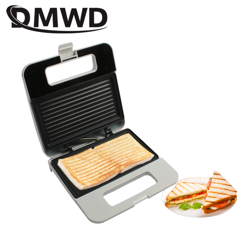 DMWD Multifunctional Electric Panini Maker Grill Press Plate Breakfast Waffle Bread Sanwich Baking Machine Toaster Barbecue Oven