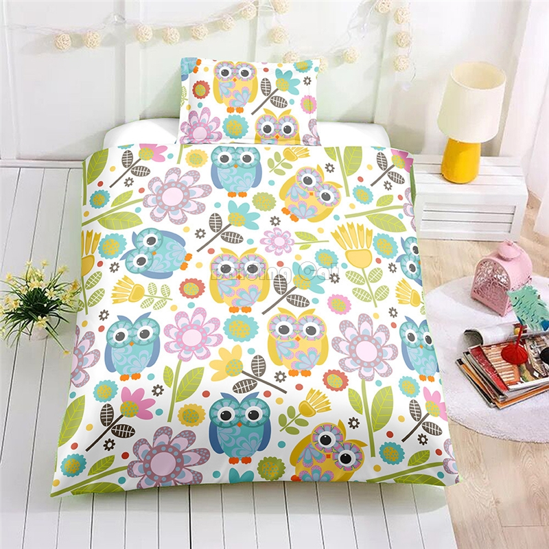 Cute Cartoon Forest Owl Duvet Cover Sets AU US EU Single Double Queen Bed Linens 2/3pcs Adult/Kids Bedclothes Gift Free ShippingCute Cartoon Forest Owl Duvet Cover Sets AU US EU Single Double Queen Bed Linens 2/3pcs Adult/Kids Bedclothes Gift Free Shipping