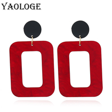 YAOLOGE Trendy Acrylic Square Geometric Earring Personality Hollow Dangler For Women Vintage Statement Accessories New Products