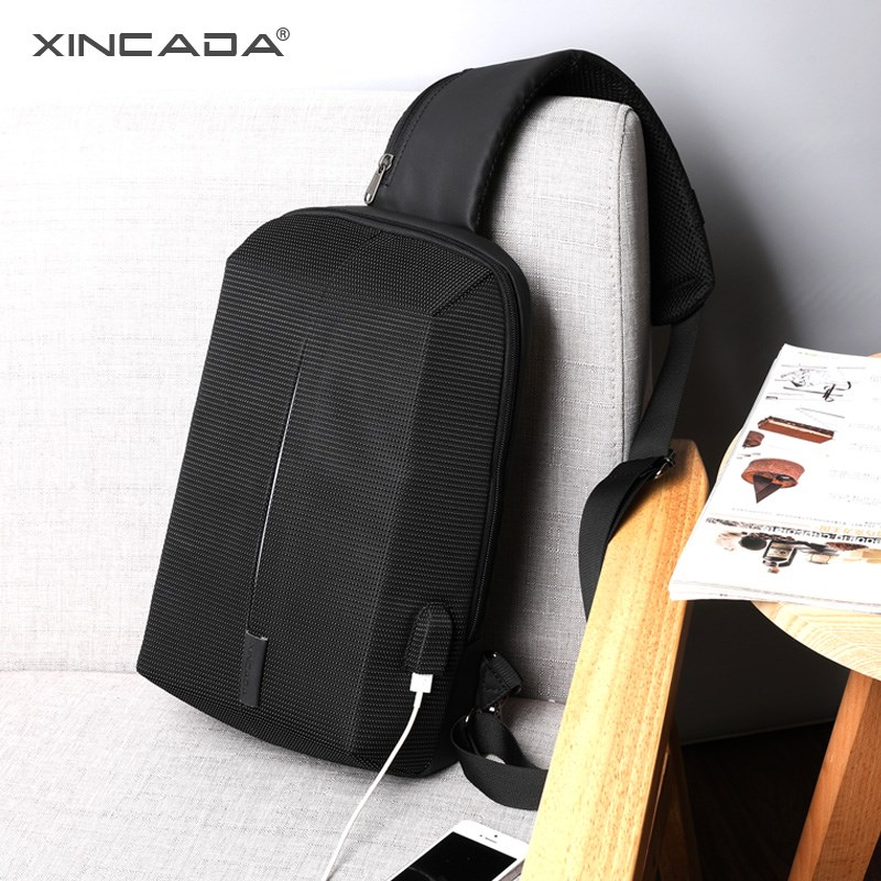 XINCADA Chest Bag Sling Pack Men Shoulder Bag Crossbody Messenger Bag with USB Charging Port