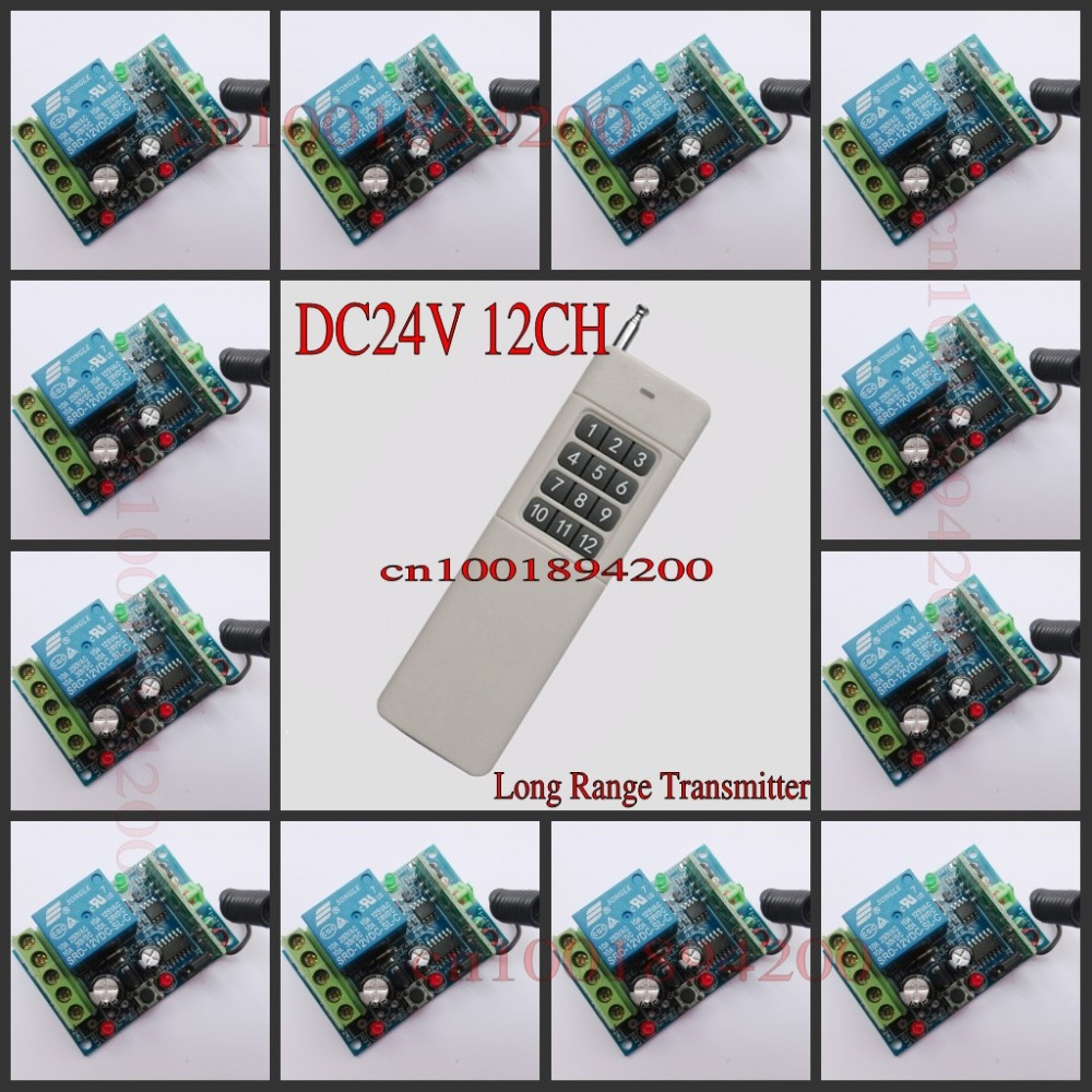 DC 24V Relay 12 CH RF Light Lamp LED Lighting Remote Controller Wireless Power ON OFF Switches Momentary Toggle Learning RX TX free shipping light lamp led bulb household appliances industrial equipment power remote on off smart home learning code ask