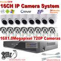 Cctv bala cúpula interior sistema de câmera 1.0MP Onvif IP rede 16ch detecção de movimento P2P câmera de CCTV NVR Kits