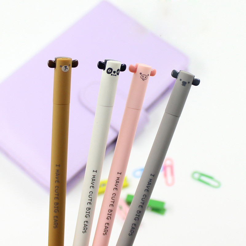 2X Cute Kawaii Lovely Animals Pig Bear Panda Erasable Gel Ink Pen School Office Supply Student Stationery Writing Signing Pen