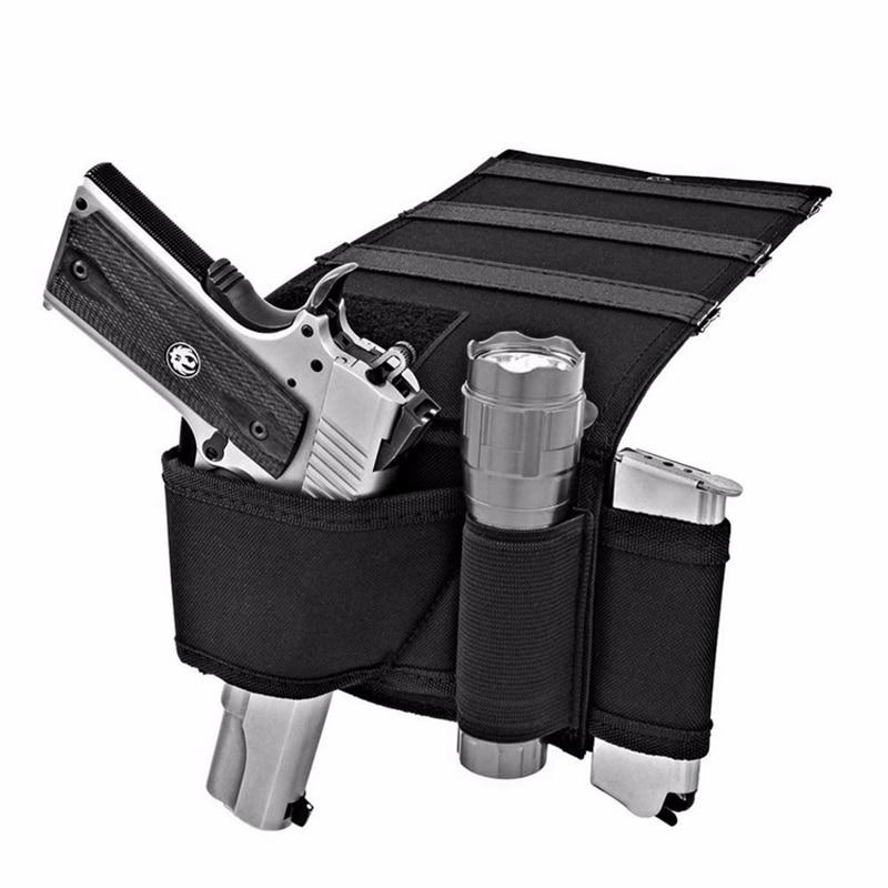 Rejtett hordozó matrac Gun Holster zenekar Pisztoly pisztolytartó Car Seat íróasztal kézifegyver hurok magazin tulajdonosa vadászat Shotgun táska