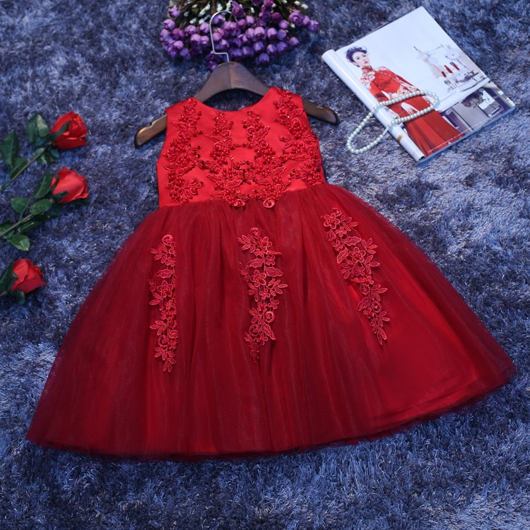 2016 Christmas Deluxe Red Tulle Girl Wedding Dress Sequin Embroidery Baby Girls Party Birthday Dress Kids Ball Gown tetris party deluxe