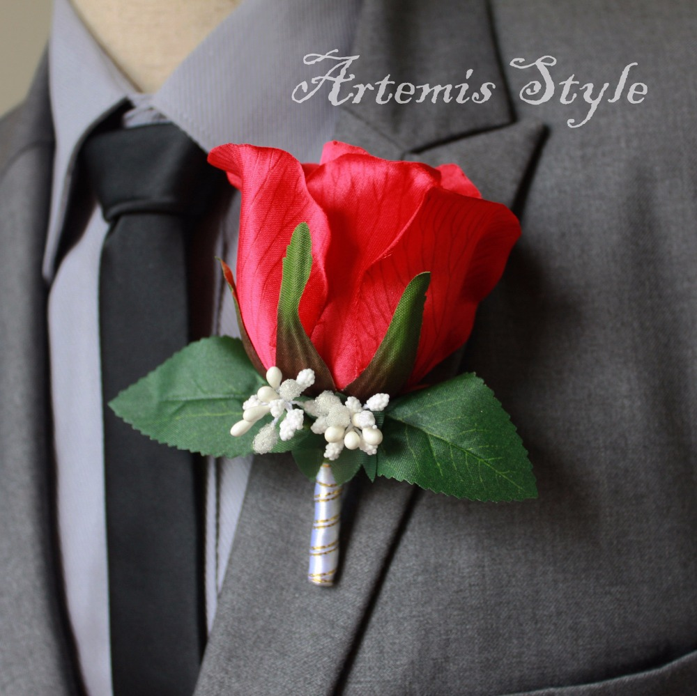 Lapel Flower Wedding Decoration Red Rose Party Boutonniere