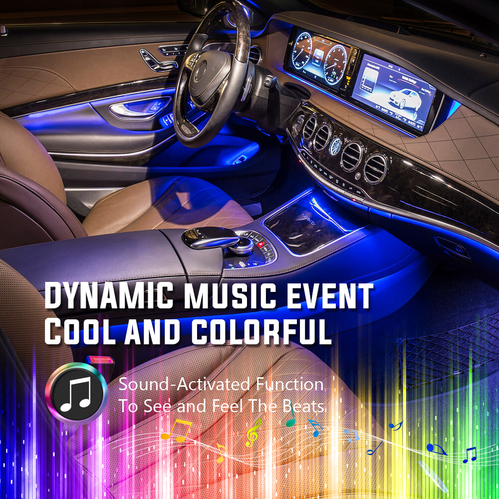 MICTUNING 9 Car RGB LED Interior Light Strips Sound Activated Decorative Auto Led Atmosphere Lamps Dual Wireless Remote Control