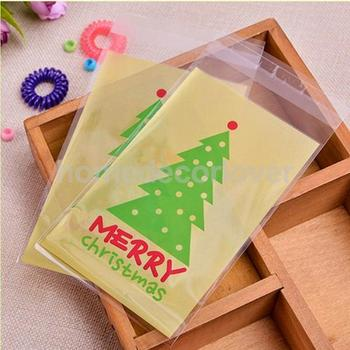 100 Pcs Clear Cookie Sweet Package Christmas Tree Print Wedding Birthday Candy Party Gusset Packaging Bag DIY Craft Bags christmas tree