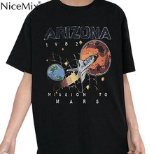 NiceMix Arizona Space Shattle Mission To Mars Printed Tshirt Black Loose Women Short Sleeve Vintage Summer Top Cute Graphic Tee
