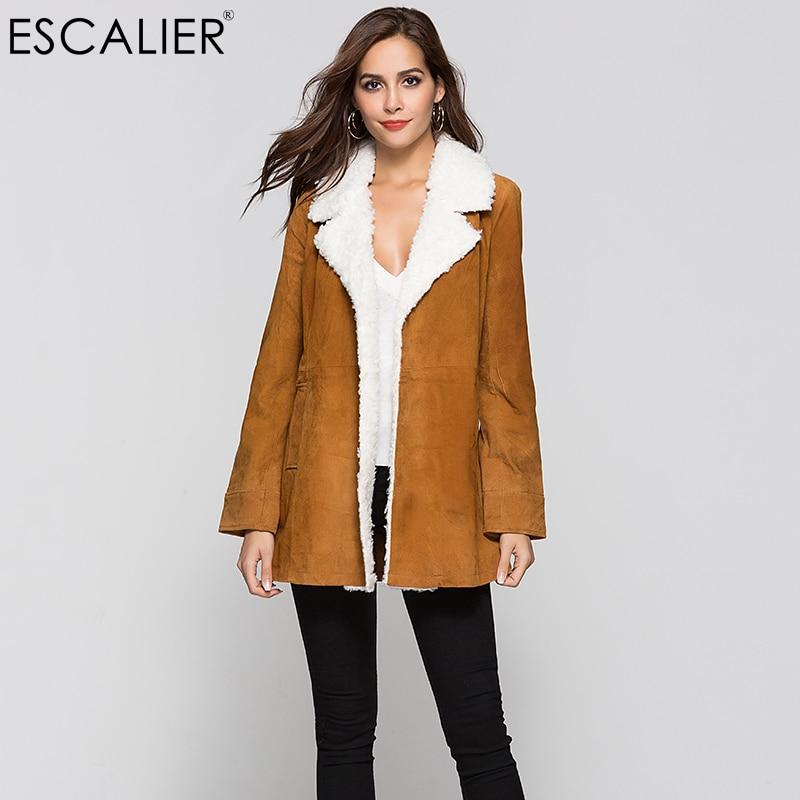 ESCALIER Women Pigskin Leather Suede Coats Vintage Motorcycle Thin Jacket Fur Warm Coats Autumn Genuine Leather coat