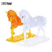 YNYNOO New 3D Crystal Puzzle DIY Three Dimensional Model Horse Animals Maxima Jigsaws Toys Yellow White