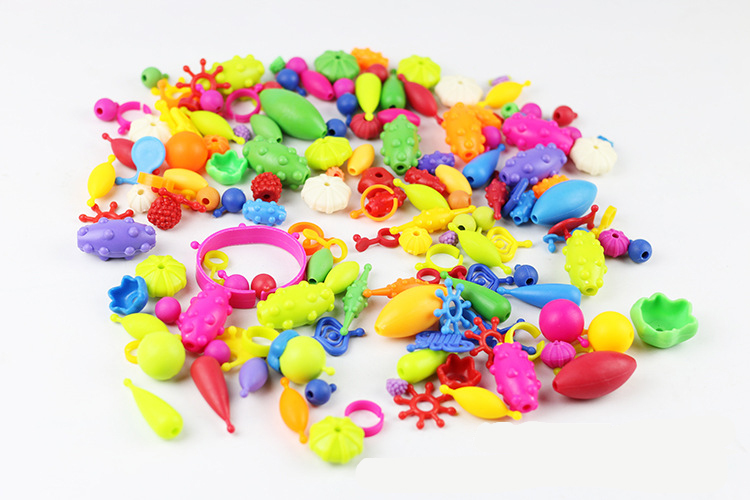 100 Pcs/set Colorful Beads Toys For Kids DIY Bracelet Ring Jewelry Toys Making Beads Kit Educational 3D Puzzle Toys Girls Gift
