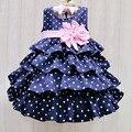 Рождество Девушка Платье Blue Dot Принцесса Платья с Розовым Поясом Слой Детские Девушки Летней Одежды для 1-6 Т