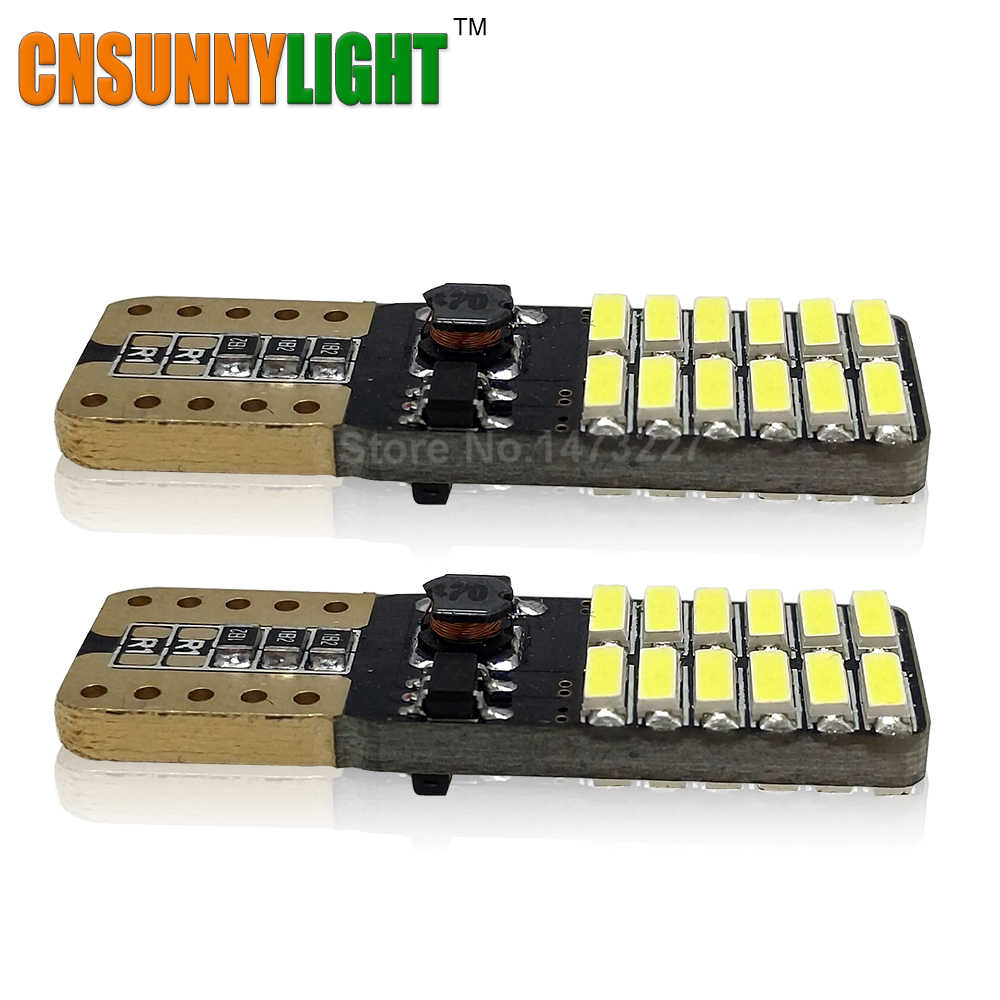 CNSUNNYLIGHT LED Parking Stop Lighting T10 24 SMD 4014 194 168 W5W Universal CANBUS Error Free Car Side Bulbs 12V No Warning