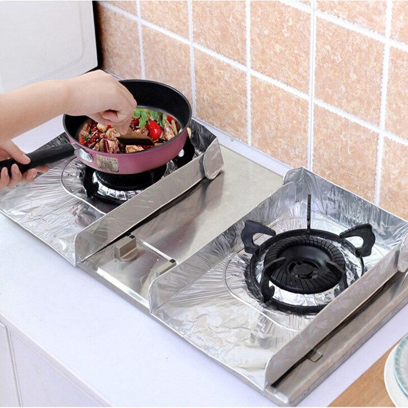 2 Pcs Pair Dapur Kompor Gas Aluminium Kertas Perak Anti Minyak Alas Isolasi Bantalan Lipat Baffle Piring Perlindungan 977230 Di Lain
