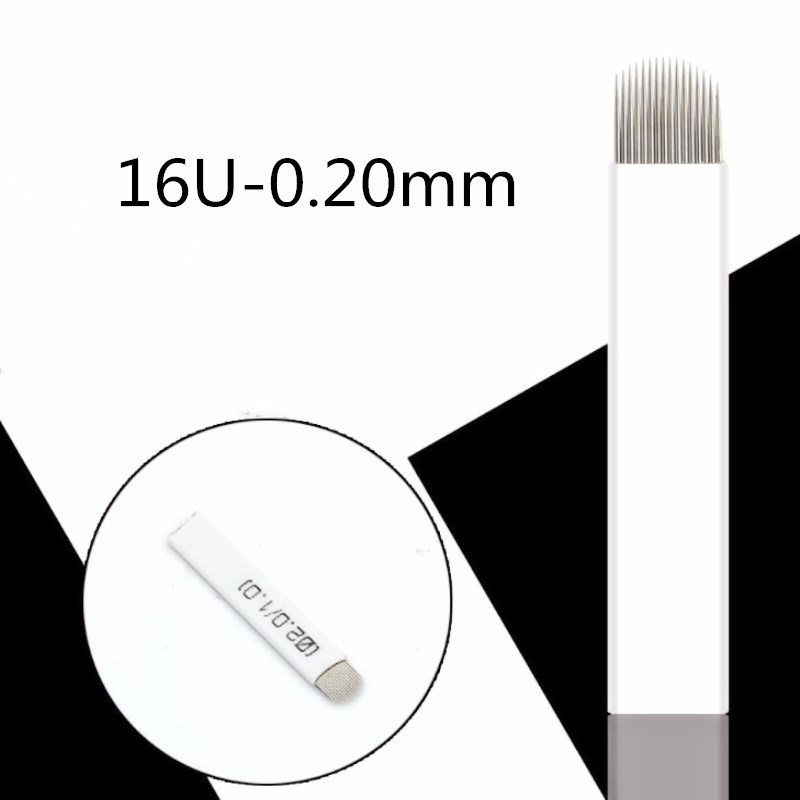 0 20mm 16 Pin Needle U Shape Eyebrow Tattoo Superior Microblading Blades For Permanent Makeup Manual Pen 3D Eyebrow Embroidery in Tattoo Needles from Beauty Health