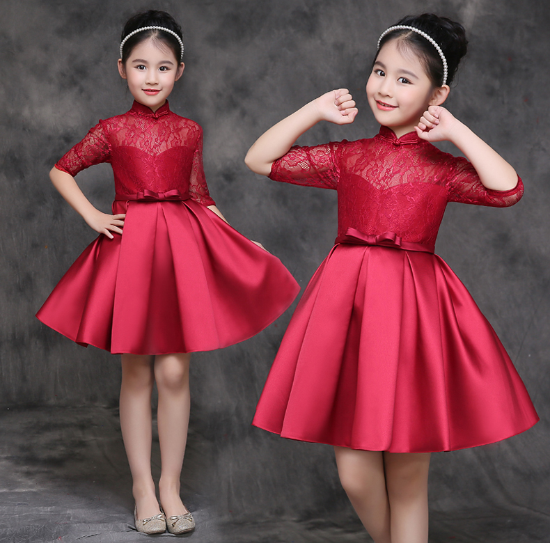 HTB1X4eASFXXXXcxXFXXq6xXFXXXC - Baby Girl Kid Evening Party Dresses For Girl Wedding Princess Clothing 2017 New Solid Color Bow Moderator Dress Children Clothes