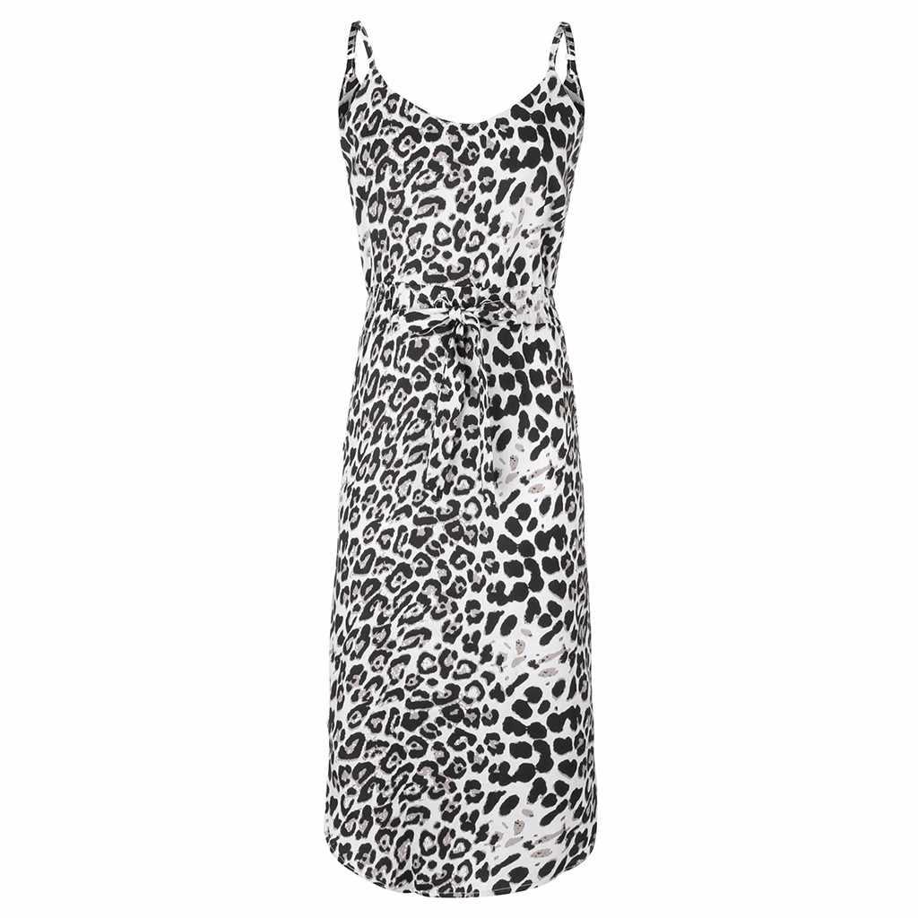 KLV 2019 最新の女性のファッション v ネックヒョウステッチプリントノースリーブポケットカジュアルドレス送料無料 D4
